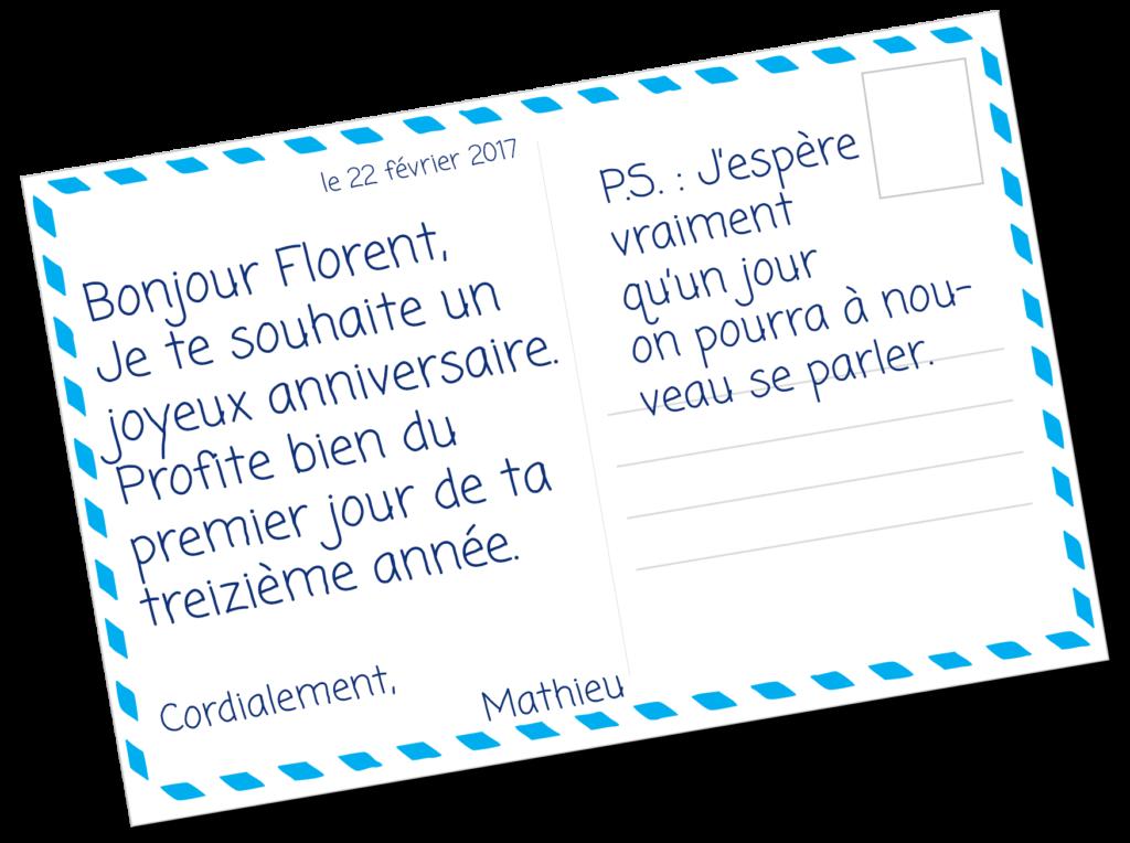 Mathieu écrit à son frère pour lui souhaiter un joyeux anniversaire
