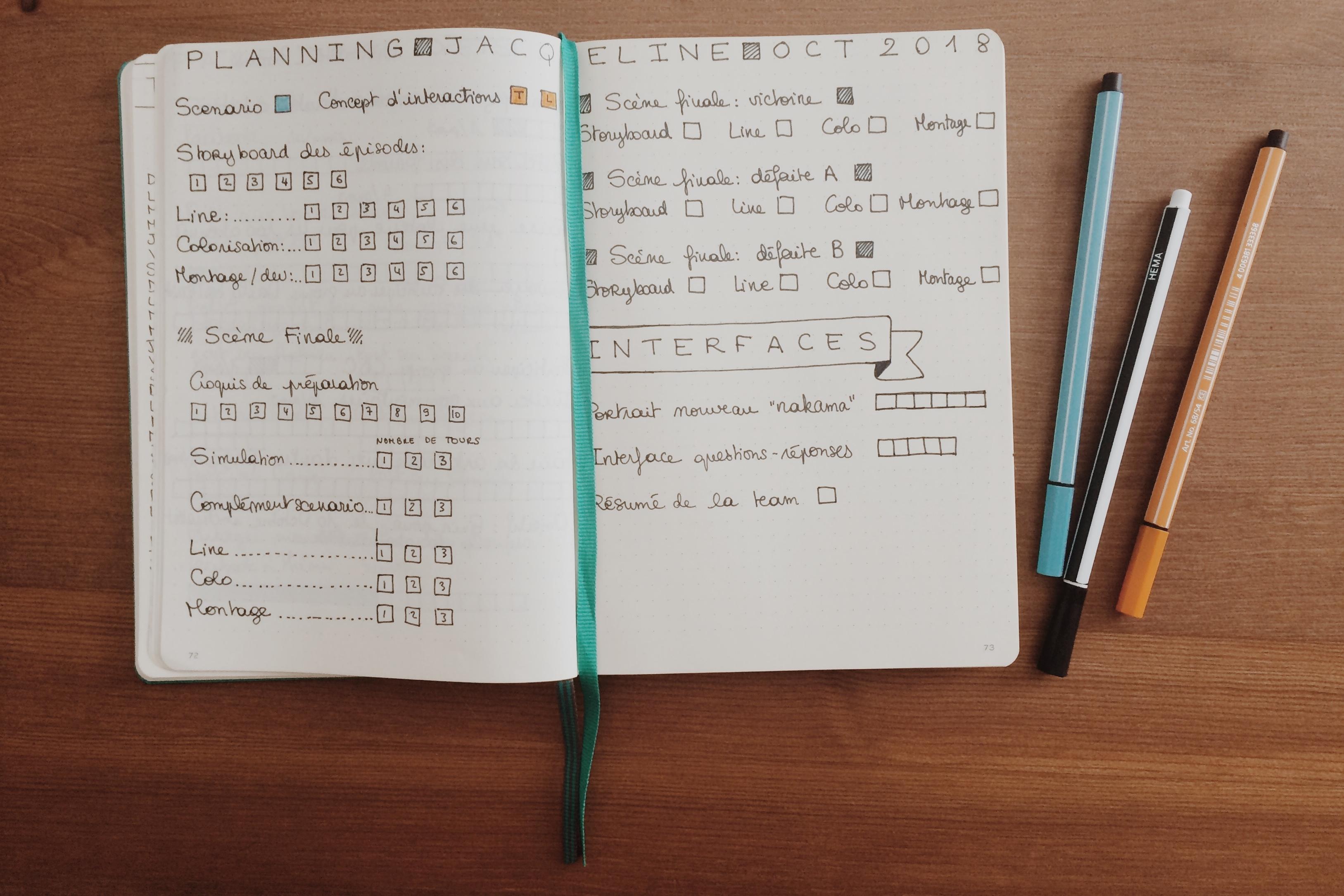 Planning de réalisation du prochain récit