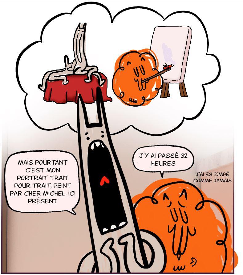 Michel long et Michel poilu, deux chats du cat café le plus pété des tous les univers webtoon